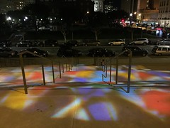 Colors from Grace Cathedral's stained glass on the steps at night. (JoeGarity) Tags: rosewindow steps night colors stainedglass gracecathedral sanfrancisco