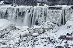 The American Falls (lfeng1014) Tags: americanfalls bridalfalls frozen waterfalls niagarafalls icicles water ice snow rocks canon5dmarkiii 70200mmf28lisii landscape winter winterwonderland leefilters 13seconds closeup lifeng ontario canada monochrome