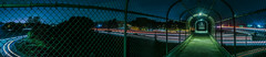 just outside the cage (pbo31) Tags: bayarea california nikon color night dark black winter january 2018 boury pbo31 urban d810 infinity lightstream motion traffic roadway over panoramic large stitched panorama highway 101 overpass paloalto santaclaracounty southbay pedestrian bike path green cage fence bridge duveneck trail tunnel