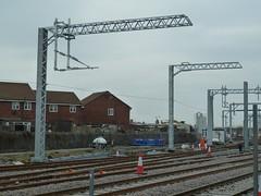 20180219 Blackpool electrification masts (blackpoolbeach) Tags: blackpool north railway station railroad electrification masts overhead gantry insulators