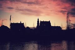 Sunset... (hobbit68) Tags: silhouette frankfurt fechenheim river fluss main sonnenuntergang sunset 🌅 sunshine sun sonne water wasser kran dächer rooftops house haus häuser trees baum bäume