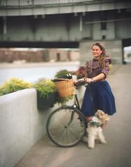 Girl next dog / Девушка, следующая за псом (neverbe) Tags: 4x5 sinarp2 kodakaeroektar178mm25 largeformat film kodakportra160 c41 color bike diy bicycle portrait selfmadec41developer