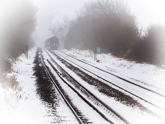 Mystic steam (Peter Leigh50) Tags: oliver cromwell 70013 mist misty fog foggy train railway railroad rutland snow winter weather steam cold march