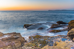 Sunrise Seascape (Merrillie) Tags: daybreak sunrise puttybeach nature australia rockplatform waterscape centralcoast morning sea newsouthwales rocks earlymorning nsw outdoors bouddinationalpark ocean landscape water rocky coastal clouds sky seascape cloudy coast dawn waves