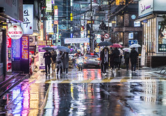 blings (matteroffactSH) Tags: korea south southkorea seoul rain rainy storm winter gangnam district downtown cityscape streets night light neon megacity reflections korean sk asia nikon d800 d800e andrew rochfort andrewrochfort matteroffact urban dense future bladerunner blade runner futuristic