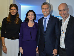 Juliana Awada, Sheryl Sandberg, Mauricio Macri y Horacio Rodriguez Larreta