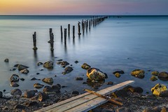 The Dell at Sunset (Goldmanoz) Tags: cliftonsprings victoria australia au thedell geelong longexposure pier beach sea ocean water sand rocks birds seagulls sunset