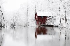 Crap Shack by the River (Marcvs Nilsson) Tags: white snow old house shitty crap red river mjölby östergötland sweden svartån