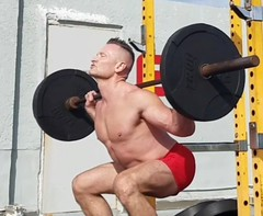 squats (ddman_70) Tags: shirtless muscle workout legs barbell squats gym shortshorts