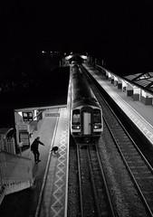 Dog vs man (dave777_uk) Tags: dog man train platform station night dark nottingham notts blackandwhite bw street canon eos m10 22 22mm