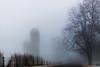 Fog Day #3 (tquist24) Tags: hff indiana nikon nikond5300 farm fence fog foggy geotagged road rural silo silos sky snow tree trees winter