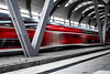 I like trains (GeoMatthis) Tags: schienen zug bahnhof kiel deutschland bewegung unschärfe kontrast rot train rails movement blurring motion blur contrast red architecture street blackwhite