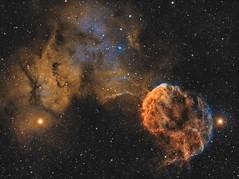 The Jellyfish Nebula (IC443) imaged in SHO (Andrew Klinger) Tags: