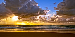 Rainbow Beach Sunrise (Tony Steinberg Photography) Tags: 20x10 art australia beach beautiful blue bluesky clouds coastal coastline colour copyright©2008arsteinbergallrightsreserved distant environment fineart getaway gold golden grey image inspiring isolated landscape lightbeams magnificent nature ocean orange outdoors outside peaceful photo photograph photographicart picturesque pretty queensland quiet rain rainbowbeach rays rising sand scene scenic sea seascape serene sky skyscape storm sun sunlight sunrise tonysteinbergphotography touristattraction tranquil travel water waves yellow