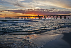 The Colors of Sunset (lightonthewater) Tags: sand sunset panamacitybeach florida clouds waves lightonthewater reflection ocean gulfofmexico pier