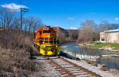 Paralleling Buck Creek (Wheelnrail) Tags: iory io train trains emd locomotive gp382 local springfield ohio river creek buck indiana railroad railway sunny day freight