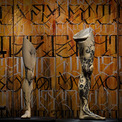 Legs (Seeing Visions) Tags: 2017 unitedstates us california ca losangeles la expositionpark naturalhistorymuseumoflosangelescounty nhm museum exhibittattoo siliconleg demon eyes skull abstract limb text letters calligraphy wood square raymondfujioka