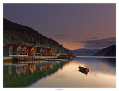 Silence of Norway (focus9_photography) Tags: silence kaupanger sunset reflections colours houses water autumn peace norway sogne fjordane boat