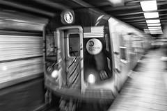 The R Train Arrives (gmolzahn) Tags: blackwhite silverefexpro2 sonyrx100 newyorkcity subway digitaldarkroom