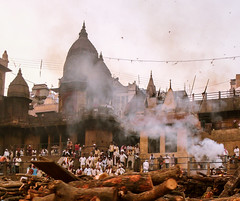 burning ghat (paologmb) Tags: burningghat tradition smoke street individuals mourning spirit ganga holy man urban soul varanasi india creepy spiritual death wood fire river travel