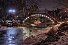 Bridge Over Icy Water m5s (Greg Riekens) Tags: night afterdark cold usa winter nikkor nikond500 bridge minnesota edina park midwest frozen snow ice