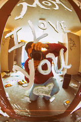 I Love You (Thomas Hawk) Tags: america california cossonhall sf sagehall sanfrancisco starburst ti thomashawk treasureisland usa unitedstates unitedstatesofamerica westcoast abandoned barracks decay graffiti selfportrait fav10