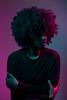 Self Portrait (scarletizm) Tags: woman portrait selfportrait black afro from blackwoman naturalhair hair magenta turquoise colors gels colorgels self lighting