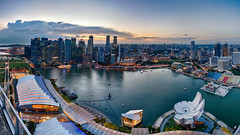 Singapore Dusk Skyline (Packing-Light) Tags: asia singapore travel city citystate diversity trade panorama dusk night lights cityscape landscape metropolis cbd sg
