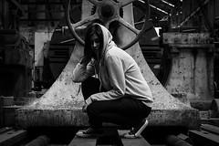 Abandoned Photoshoot (Naomi Rahim (thanks for 3.9 million visits)) Tags: sydney cockatooisland factory derelict abandoned nsw australia 2017 urbex urbanexplorers photoshoot grunge hoodie bw blackwhite industrial converse female girl nikon nikond7200