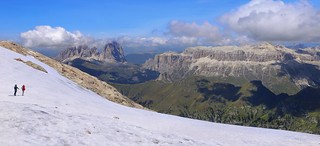 Marmolada's white glacier dominates the Dolomites and is much admired by walkers