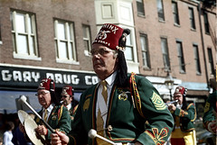 55-058 (ndpa / s. lundeen, archivist) Tags: nick dewolf nickdewolf photographbynickdewolf 1970s color 35mm film 55 reel55 boston massachusetts ma beaconhill charlesstreet parade shriner shriners melha uniform uniforms hat hats fez fezzes uniformed band marchingband musicalinstruments musician musicians costume costumes costumed sphinxfunsters sphinx drugstore garydrug garydrugco greenjacket greenjackets cymbals drumsticks drummer trumpet player goldtie tie ties goldties patch rank embroidery tassel tassels 1974 man men glasses eyeglasses shrinersparade melhashriners citylife streetphotography 1973