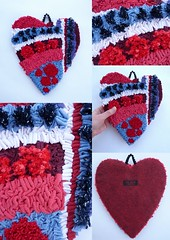 Hooked and Needle Punched Heart (jkw_fire_horse) Tags: hookedheart ecofriendly needlepunched colourful colorful heartdecoration hangingheart red blue purple lightpink