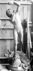 Henri Peinte (1845–1912) - Orphée endormant Cerbère (1887) front (ketrin1407) Tags: henripeinte orpheus orphée sculpture nude naked sensual erotic mythology greekmyth cerebus 19thcentury blackandwhite monochrome statue dog