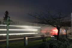 Passing Freight Train (Curtis Gregory Perry) Tags: aurora oregon freight train night long exposure movement motion blur light trail traffic track rail railroad nikon d810 transportation signal