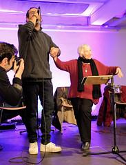 DSC_4983 Ester Bajarano und Kutlu Yurtseven auf der Bühne der Alten Fabrik im Museum der Arbeit in Hamburg Barmbek. (christoph_bellin) Tags: microphone mafia sohn joram kutlu yurtseven bühne alte fabrik museumderarbeit barmbek museum arbeit ester bejarano widerstand überlebende holocaust mädchenorchester akkordeon auschwitz orchester kämpferin esterbejarano kampf vergessen musik nazis krieg rassismus