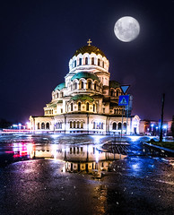 Sofia Night Pano Moon + Snow (mscgerber) Tags: bulgaria sofia balkan church cathedrale architecture building street streetphotography streets urban urbanphotography night nightphotography nightsky stars moon moonlight fullmoon snow snowy mood moody reflection reflections visualart visuals nikon nikonphotography nikond3400