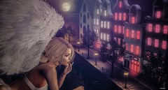 RLD Photo Contest - Night Watch, Angels Among Us (scarlettrose.karsin) Tags: rld shopping event sl secondlife angel maitreya catwa blueberry redlightdistrict bento mesh avatar bright lights city