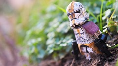 CT-6734 (RagingPhotography) Tags: lego star wars ct6734 ct 6734 clonetrooper clone trooper yellow markings marking detail details decal decals painted paint custom customized commander lieutenant 327 327th corps galle outside outdoor outdoors plant plants dirt soil battle damaged dirty filthy greenery pretty beautiful bright light shot pistol pistols carrying black blasters blaster weapon weapons ragingphotography