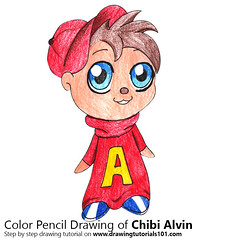 Chibi Alvin from Alvin and the Chipmunks (drawingtutorials101.com) Tags: chibi alvin characters chipmunks cartoons kawaii character how draw color pencil pencils chibis drawings drawing with