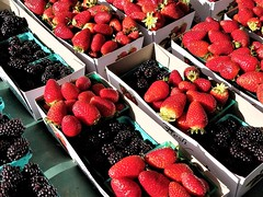 fresh berries (moonjazz) Tags: berries stawberries blackberries food fresh organic market red black juicy delicious taste color photography produce eat scrumptious vibrant contrast moonjazz nutrition health diet texture ripe