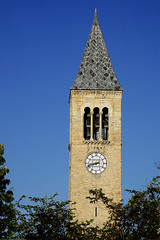 McGraw Clock Tower (Seeing Visions) Tags: 2017 unitedstates us newyork ny ithaca cornelluniversity mcgrawhall clocktower architecture roof spre clock arch sky blue tree stone raymondfujioka