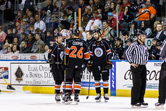 """Kansas City Mavericks vs. Florida Everblades, February 18, 2018, Silverstein Eye Centers Arena, Independence, Missouri.  Photo: © John Howe / Howe Creative Photography, all rights reserved 2018 • <a style=""""font-size:0.8em;"""" href=""""http://www.flickr.com/photos/134016632@N02/39491160785/"""" target=""""_blank"""">View on Flickr</a>"""