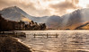Buttermere Shark Pens (urfnick) Tags: canon eos 1300d sunlight rays lakedistrict thelakes nationalpark lake snow winterbeach fencing tamron greatbritain unitedkingdom sundaylights