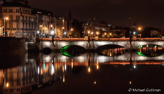 Grattan Bridge in Dublin Ireland (Michael Guttman) Tags: grattanbridge dublin ireland riverliffey bridge river night nightphotography lights reflection architecture city reflections buildings downtowndublin nikon d90