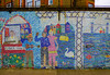 The Wall Mosaic of Columbia Primary School (Steve Taylor (Photography)) Tags: flowermarket mosaic columbiaprimaryschool swan guitar towerhamlets fish thames towerbridge boat crane stall art streetart bridge shop tile water river people uk gb england greatbritain unitedkingdom london columbiaschool