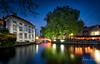 Postcard from Bruges II (Alec Lux) Tags: architecture autumn belgium bluehour branches bricks bridge bruges brugge building buildings canal city colorful colors house landscape leave longexposure medieval nature old season street tree water vlaanderen be