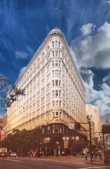 San Francisco California - The Phelan Building  - Flatiron  -  Vintage Photo (Onasill ~ Bill Badzo) Tags: flatiron building san francisco ca california phelan architecture style office landmark nrhp fireproof financial district market st onasill earthquake terra cotta assembly hall jewelry arcade stores jewelers school penthouse roof top garden studio abandon sky clouds old vintage photo blue