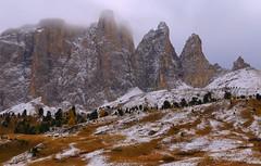 Passo Sella Towers _MG_4223m3(1) (maxo1965) Tags: passosella sellatowers sellajoch dolomites südtirol mountains landscape autumn fallcolors snow