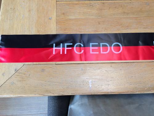 100mm zwart rood lint met wit bedrukt