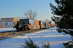 Cold Containers (craigsanders429) Tags: winter winterphotography winterrailroadphotography winterontherailroad winterandrailroads csx csxtrains csxeriewestsubdivision snow trainsinsnow genevaohio stacktrains csxstacktrains containertrains